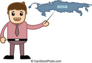 uomo affari, esposizione, programma russia