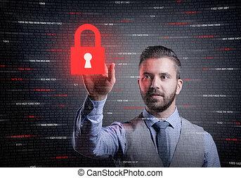 uomo affari, esposizione, sicurezza, virtuale