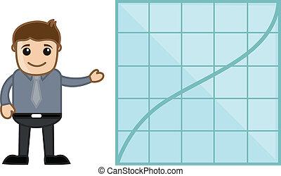 uomo affari, esposizione, stats, grafico