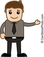uomo affari, esposizione, vettore, cartone animato
