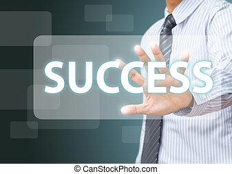 uomo affari, fare, successo, su, schermo tocco