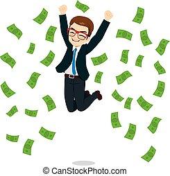 uomo affari, felice, saltare, soldi