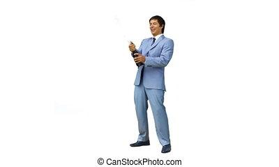 uomo affari, festeggiare, con, champagne