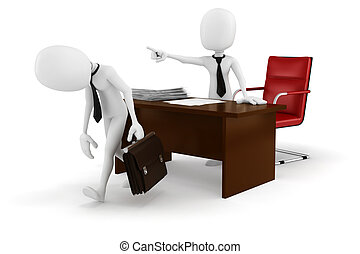 uomo affari, -fired!, 3d, uomo