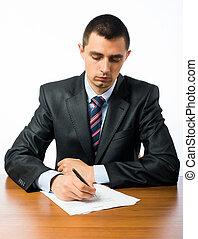 uomo affari, forma, scrittura