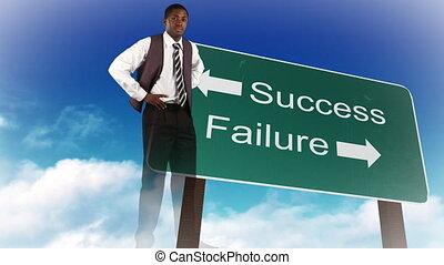 uomo affari, fra, successo, e, fallimento, situazioni