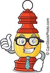 uomo affari, fresco, lanterna, carattere, rotolo, occhiali, cartone animato