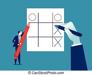 uomo affari, games., ozio, concetto, illustration., vettore, affari