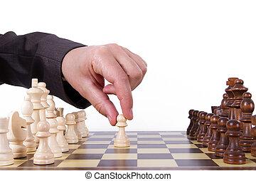 uomo affari, gioco, gioco scacchi esegue
