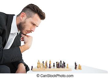 uomo affari, gioco scacchi esegue, hipster, gioco