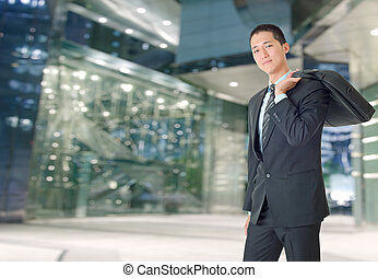 uomo affari, giovane, felice