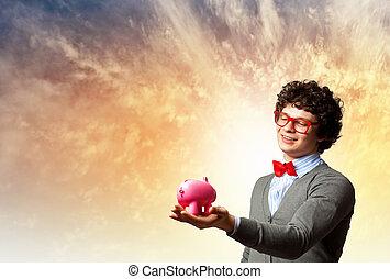 uomo affari, giovane, presa a terra, moneybox