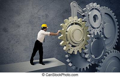 uomo affari, giramento, ingranaggio, sistema