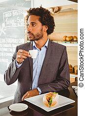 uomo affari, godere, suo, ora pranzo