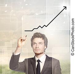 uomo affari, grafico, disegno,  -growth