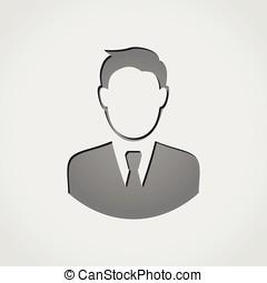 uomo affari, grigio, icona