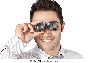 uomo affari, guardando attraverso, binoculare