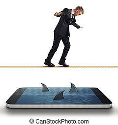 uomo affari, guasto, con, suo, smartphone