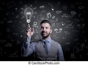 uomo affari, hipster, idea
