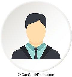 uomo affari, icona, cerchio
