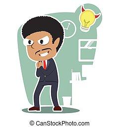 uomo affari, idea, male, africano