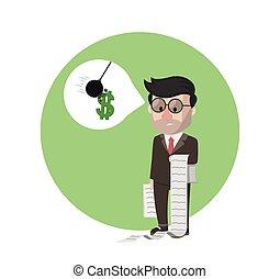 uomo affari, illustrazione, perdita, carta, presa a terra