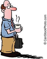 uomo affari, /, impiegato, mangiare caffè