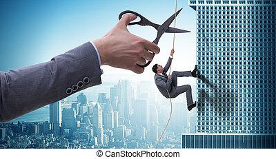 uomo affari, in, affari, rischio, concetto