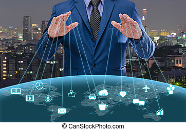 uomo affari, in, blu, suite, controllo, mondo, internet, di, cose, concetto