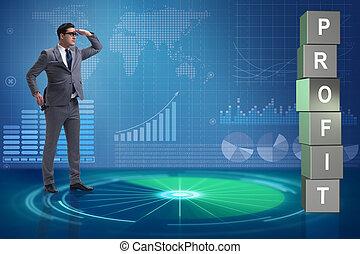 uomo affari, in, il, ricerca, per, utili