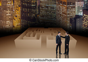 uomo affari, in, labirinto, concetto affari
