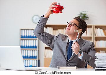 uomo affari, in, ricerca, di, suo, risparmi, con, banca piggy