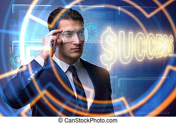 uomo affari, in, successo, concetto affari