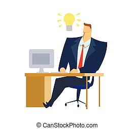 uomo affari, in, ufficio, completo, seduta, davanti, computer, con, uno, light-bulb, di, idea, sopra, suo, head., light-bulb, moment., genio, idea., concetto, appartamento, vettore, illustrazione, isolato, bianco, fondo.