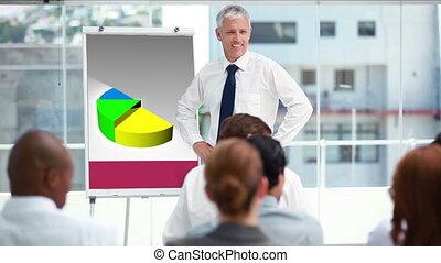 uomo affari, in, uno, riunione