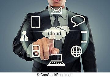 uomo affari, indicando, nuvola, calcolare
