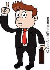uomo, affari, indicare, felice