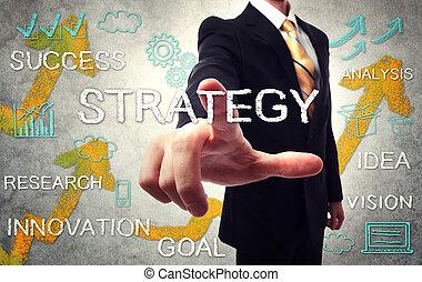 uomo affari, indicare, strategia