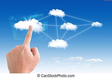 uomo affari, indicare, su, il, nuvola, per, colud, calcolare, concetto, e, affari