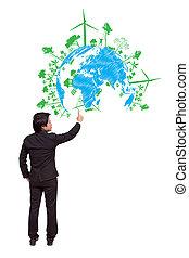 uomo affari, indicare, verde, ecologia, concetto