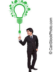 uomo affari, indicare, verde, ecologia, lampadina