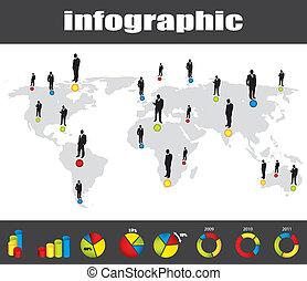 uomo affari, infographic, silhouette, collezione, colorito