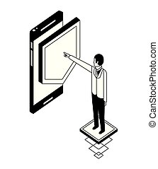 uomo affari, isometrico, smartphone, scudo, icona