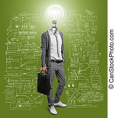 uomo affari, lampada, testa