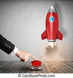 uomo affari, lancia, razzo, spinta, uno, rosso, button., 3d, interpretazione
