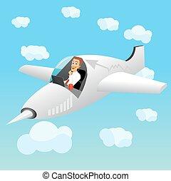 uomo affari, laptop, aereo, lavorativo