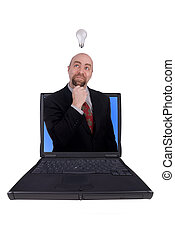 uomo affari, laptop