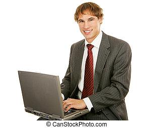 uomo affari, laptop, giovane