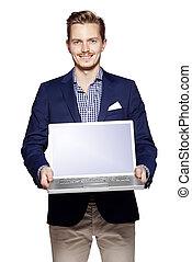 uomo affari, laptop, suo, presa a terra