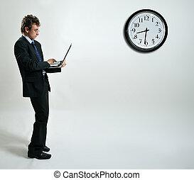 uomo affari, laptop, usando